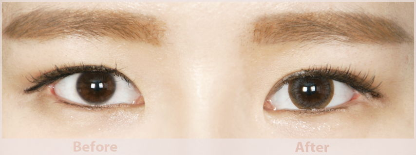 brown/gray/grey circle lenses before and after